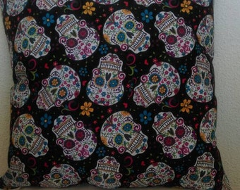 Sugar Skull Throw Pillow with Royal Purple Back