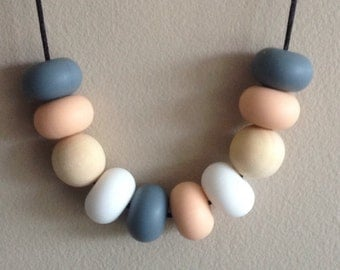 Silicon/Wooden Bead Necklace - Grey, Peach & Snow