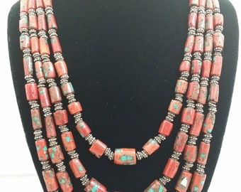 Four Strand Antique Mediterranean Coral Bead Necklace w/ Turquoise Inlay & Sterling Silver Beads.