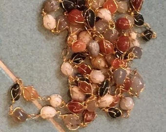carnelian and agate necklace link together by gold plated chain