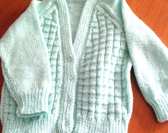 Boys/Girls Hand Knitted Cardigan Mint Green Toddler Sizes Made To Order
