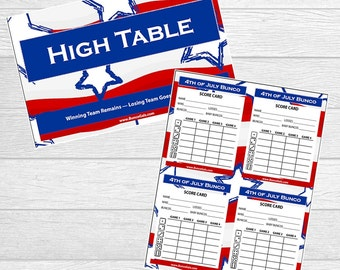 4th of July Bunco - Memorial Day Bunco - Fourth of July Bunco Printables