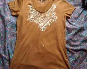 Orange Vee Neck Henna Patter Top/Crop by Eclipse Clothing + Accessories, Size 10