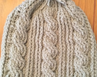 Hand crochet cabled beanie