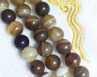 8-10mm Natural Striped Agate, Brown Black Orange Rainbow Agate Beads, Smooth Round Agate, Gemstone Supply Natural Bead.SKU#84