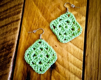 Pale green granny squares crochet earrings