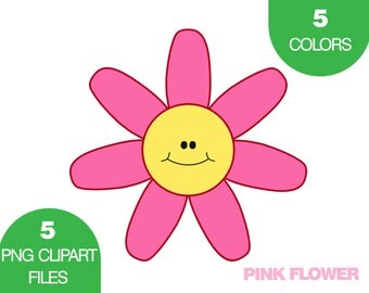Flower Clipart, Flower Clip Art, Summer Clipart, Kids Clip Art, Clipart for Scrapbooking, Instant Download