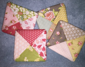 Set of 4 Beautiful Handmade Fabric Coasters