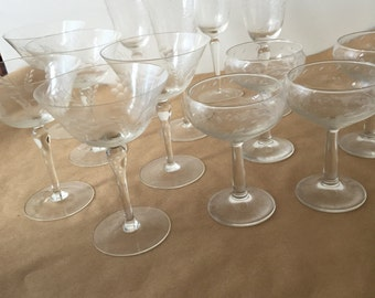 Vintage etched glass Champagne set