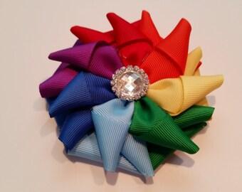 Rainbow pinwheel flower hair clip, kanzashi hair bow
