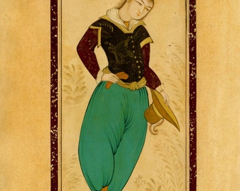 Persian painting, a miniature of a young man in an European costume