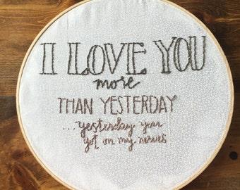 "10"" Embroidery Hoop, Wedding gift, Wall decor, Humor"