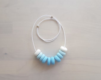 Ombre Polymer Clay Necklace Sky Waxed Cotton Cord