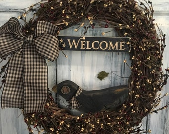 """18"""" Primitive Country Crow Welcome Grapevine Wreath"""