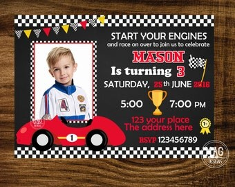 Race Car Invitation - Race Car Birthday Invitation - Race Car Birthday Invite