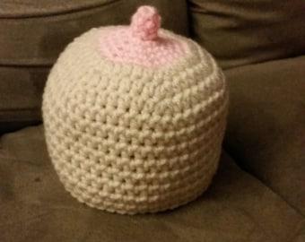 Boob hat, breastfeeding hat, newborn boob hat, toddler boob hat, crochet boob hat, boobie beanie, baby shower gift, baby girl hat