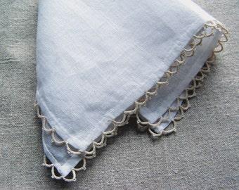 Linen handkerchief lace white beige - romantic wedding bridal accessory - woven fabric -bride handkerchief -lady Bridal Hankie -Ladies Gift
