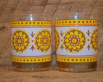 Retro Drinking Glasses with Yellow Flowers Set of Two, Vintage Glasses, Yellow and Brown Flowers, Thick Bottom Glasses