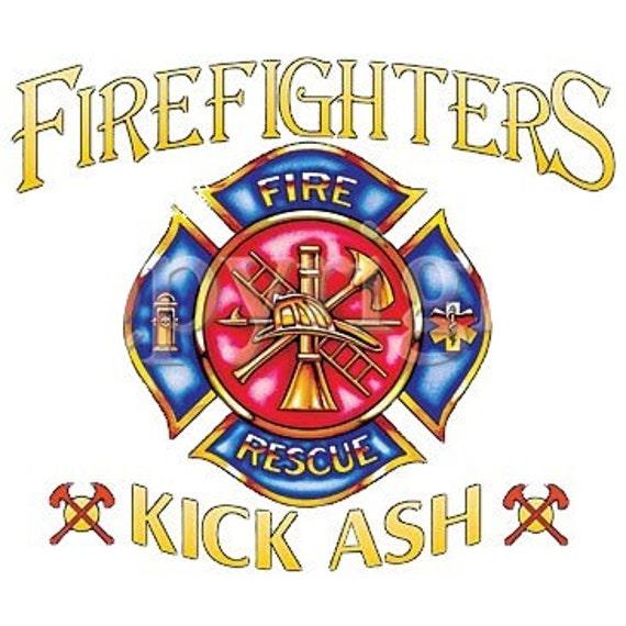 Firefighters kick ash fire fighter tee shirt for Kicks on fire t shirt