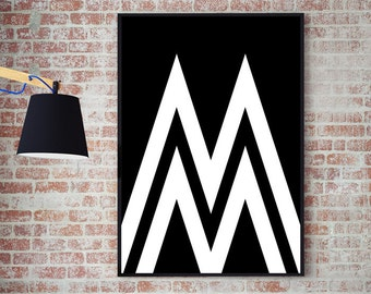 M // Typography // Letter // Alphabet // A3 // Inspirational Print // Living Room // Name