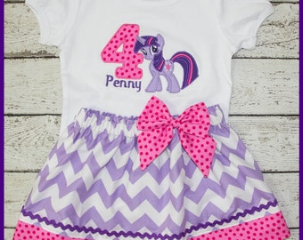 My Little Pony Twilight Sparkle Birthday Skirt outfit Name and age included Purple Chevron