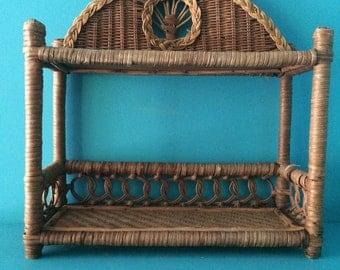 Small shelf rattan wicker, vintage