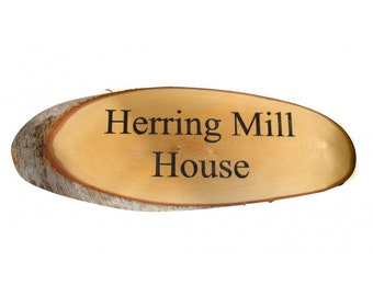 Large Wood Slice House Sign Engraved With Any House Name or Number