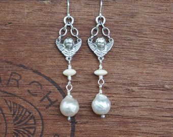 Silver Cherubs with Pearl Earrings - Ready to Ship