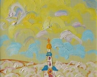 Easter original oil painting landscape painting