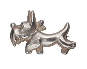 Vintage Sterling Silver Scottish Terrier Scottie Scotty Dog Pin Brooch Limited Edition