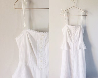 vintage 1970s dress ・ white summer style ・lace and ribbon
