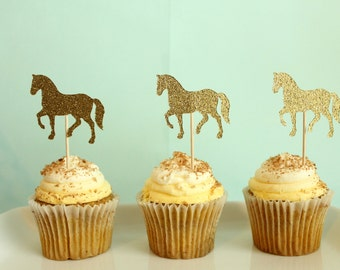 Horse Cupcake Toppers - Pony Cupcake Toppers - Gender Neutral Cupcake Toppers - Gender Reveal Cupcake Toppers - Horse Baby Shower Decor