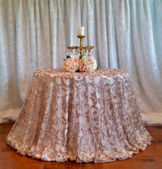 Rose Gold Sequin Tablecloth Sequin Vine Tablecloth Rose Gold