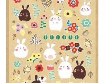 Cute Kawaii Podgy Rabbit Retro Flowers stickers for scrapbooking and decoration