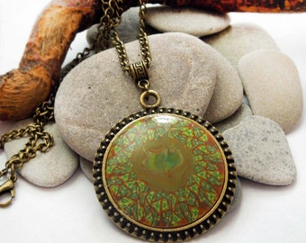 Vintage green necklace Forest Sun polymer clay