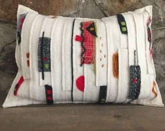 """Decorative pillow//Throw pillow/Modern/Hand felted, hand dyed wool/original art/contemporary art/contemporary décor/""""Geometric strips"""""""