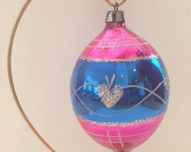 Vintage Hand Painted Glass Teardrop Polish Christmas Ornament, with blue, pink, white and silver glitter and silver glitter hearts, holiday