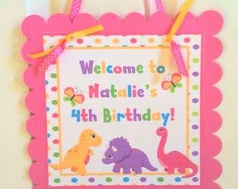 Dino Girl Door Welcome Sign