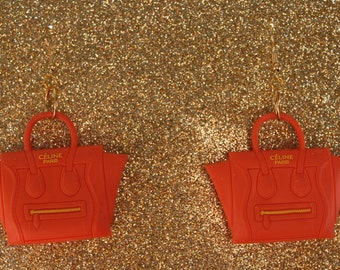 Orange Handbag Earrings