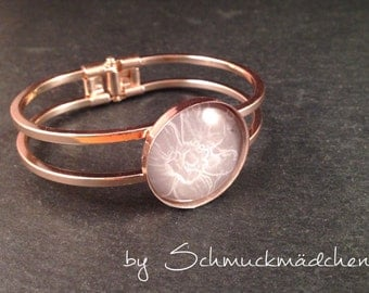 Bracelet pink gold flower grey
