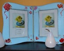 Frame photos, frame wood, frame blue, with flowers clay, handmade, decoupaged, home decoration