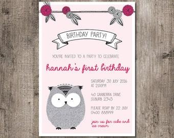 Pink owl birthday party invitation - DIGITAL FILE