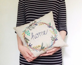 "decorative pillow ""home"""