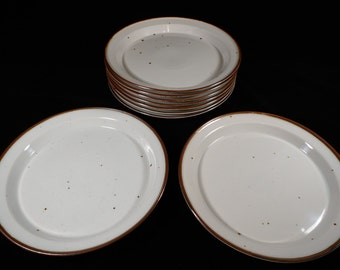 Set of Nine (9) Dansk Denmark Brown Mist Dinner Plates w/ Impressed NR Niels Refsgaard Mark