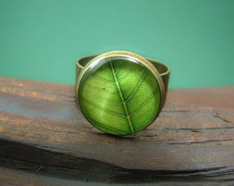 Green Statement ring – Green leaf ring - Nature jewelry - Adjustable ring – Green ring – Tree leaf ring - nature lover gift (R001)