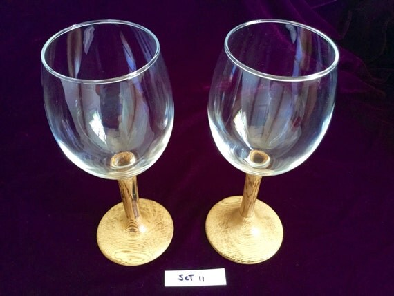 Eyeglass Frames Turning White : Wine glasses with Hand-turned burned white oak wooden stems