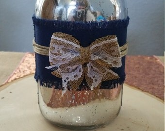Silver and navy mason jar