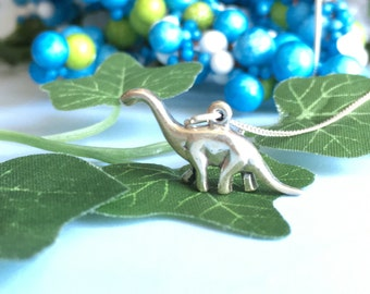 Sterling Silver Dinosaur Necklace, Dinosaur Gift, Jurassic Park Necklace, Dinosaur Jewelry, Dinosaur Gift, Apatosaurus Charm Necklace