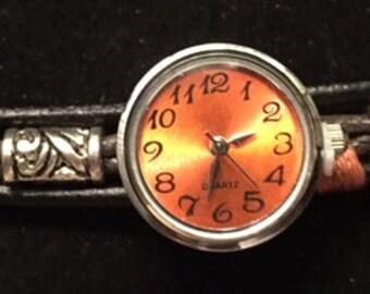 Trendy Genuine Leather Interchangeable Snap Bracelet with an Orange Snap Watch for Men or Women