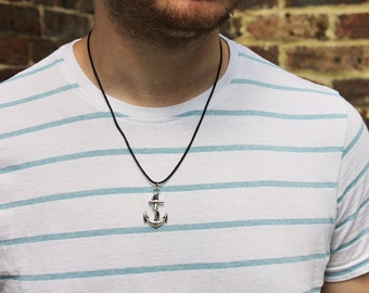 Men's Silver Anchor Necklace, Silver Anchor Pendant, Men's Necklaces, Men's Jewellery, Nautical Necklace, Anchor and Rope